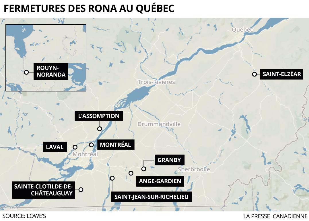 Fermetures des Rona au Québec